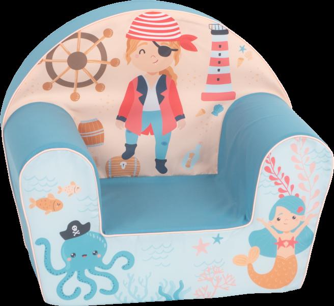 Delsit Detské kresielko, pohovka - Pirát, mořský svět, modrá