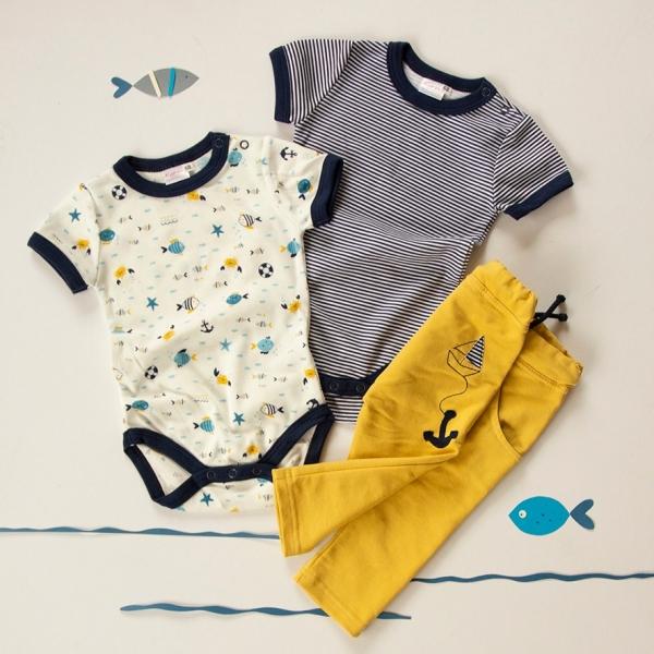 K-Baby 3 dielna sada - 2x body kr. rukáv, tepláčiky - námorník