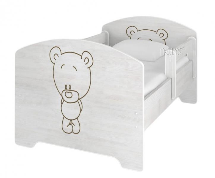 NELLYS Detská posteľ BABY BEAR vo farbe nórskej borovice, 160 x 80 cm + matrac zadarmo