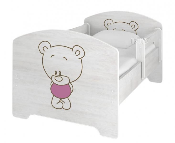 NELLYS Detská posteľ BABY BEAR ružový vo farbe nórskej borovice, 160 x 80 + matrac zadarmo