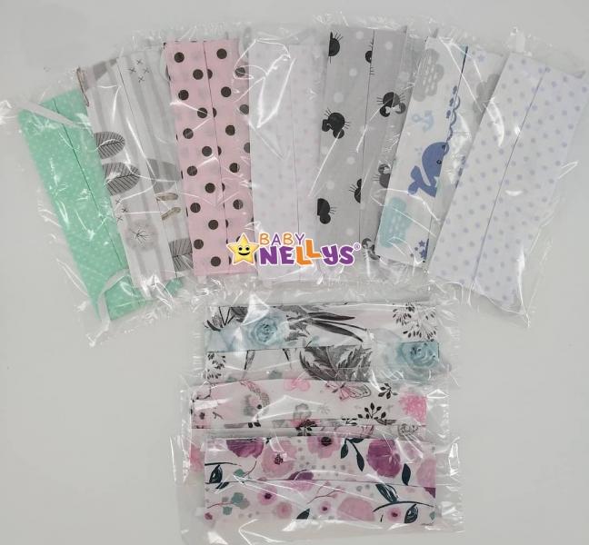 Detská bavlnená rúška, dvojvrstvová s vreckom na filter, na gumku  - dievčence motivy