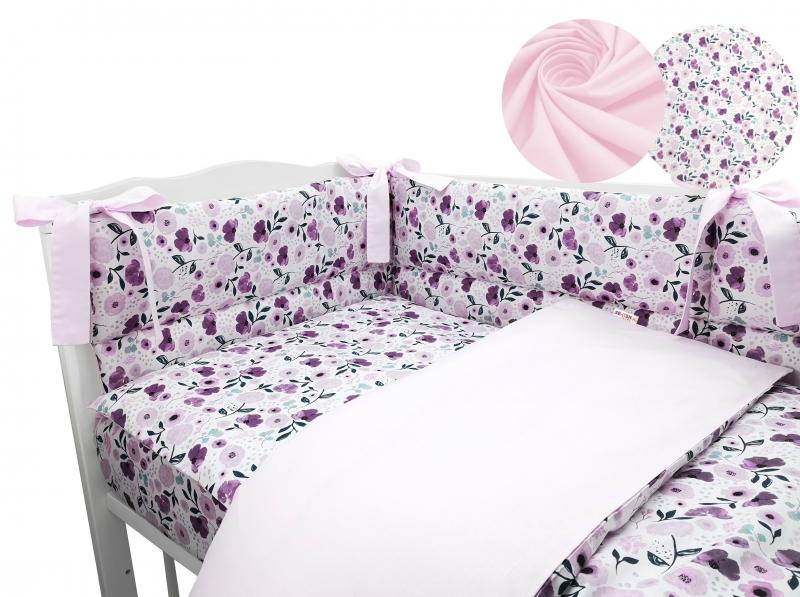 3-dielna sada mantinel s obliečkami Baby Nellys, Lúčne kvietky, ružová 120x90