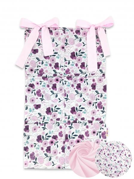 Bavlnený vreckár na postieľku Baby Nellys 6 vreciek, Lučné kvietky, růžová