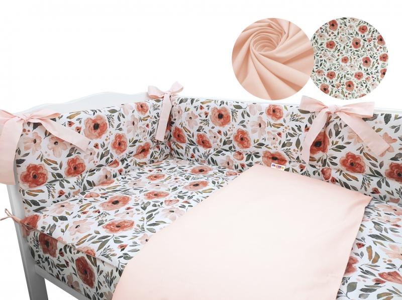 3-dielna sada mantinel s obliečkami Baby Nellys, Begónie, marhuľová, roz. 135x100 cm