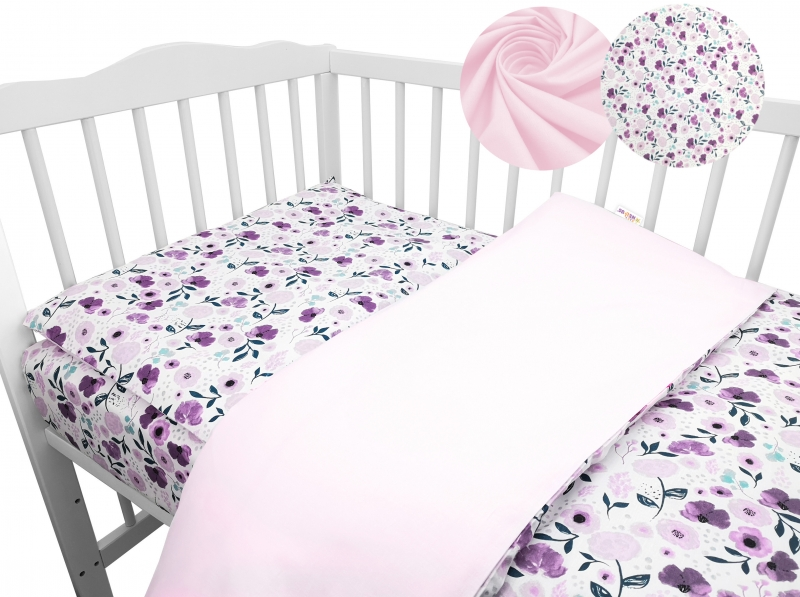 2-dielne bavlnené obliečky Baby Nellys - Lučné kvietky, růžové, roz. 135x100 cm