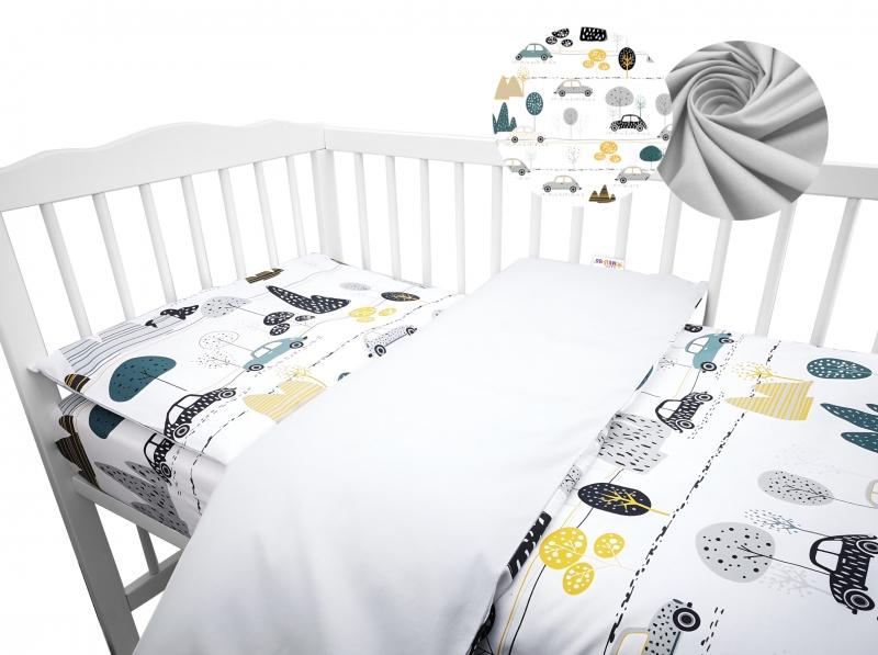 2-dielne bavlnené obliečky Baby Nellys -auto v aleji, šedá, roz. 135x100 cm