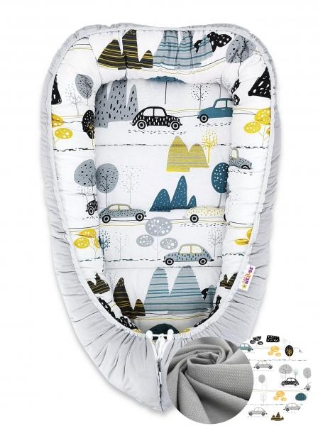 Obojstranné hniezdočko Baby Nellys Velvet, 55x75cm, Autá v aleji - sivý velvet/auta zelená