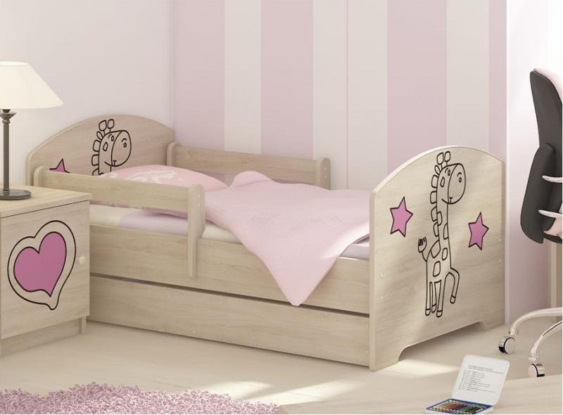 NELLYS Detská posteľ160x80cm, Žirafka STAR ružová vo farbe nórskej borovice, matrac zdarma