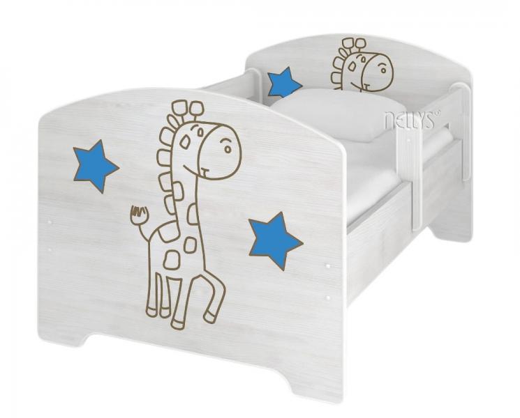 NELLYS Detská posteľ 160x80cm, Žirafka STAR modrá vo farbe nórskej borovice, matrac zdarma