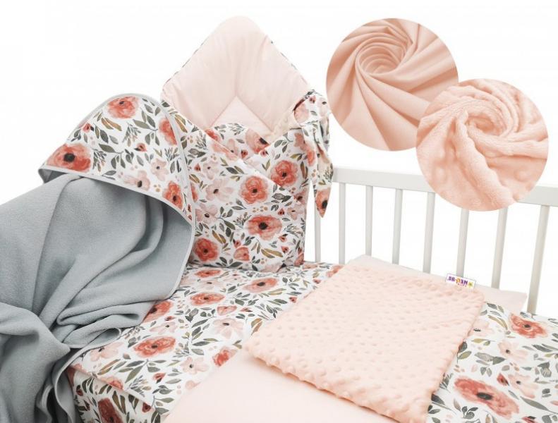 Baby Nellys 6-dielna výhodná súprava pre bábätko s darčekom, 135x100 cm - Begónie-120x90