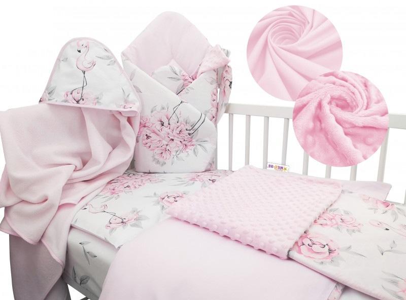 Baby Nellys 6-dielna výhodná súprava pre bábätko s darčekom, 120 x 90 cm - Plameňák-#Velikost povlečení;120x90