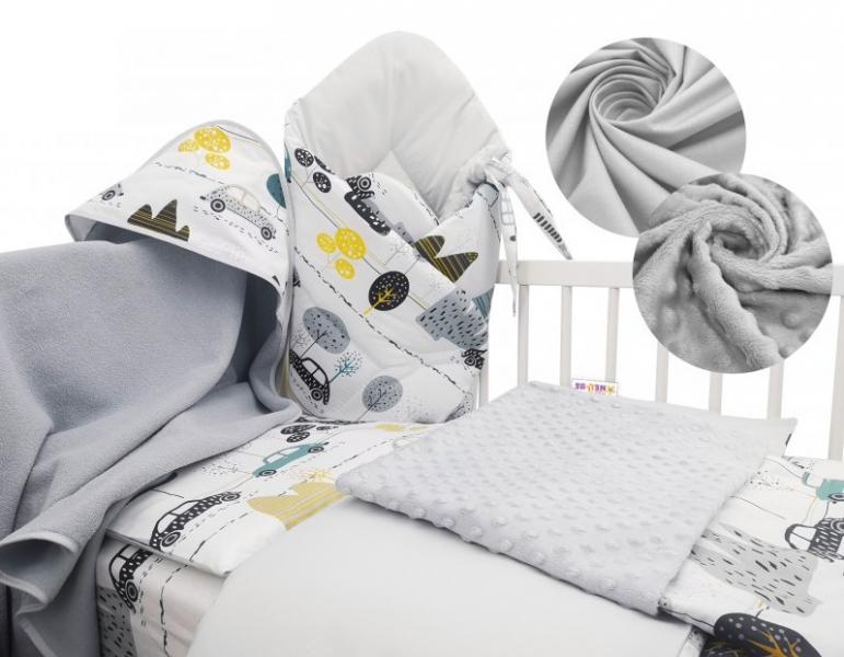 Baby Nellys 6-dielna výhodná súprava pre bábätko s darčekom, 120 x 90cm - Auta v aleji-120x90