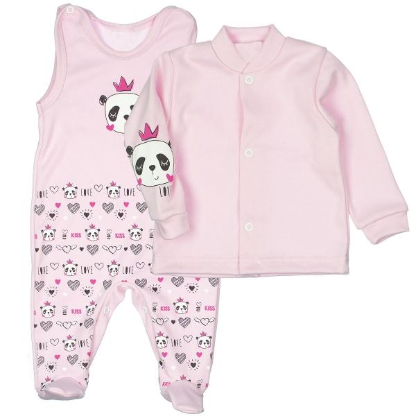 MBaby 2-dielna dojčenská sada PANDA Love, veľ. 62 - svetlo rúžová
