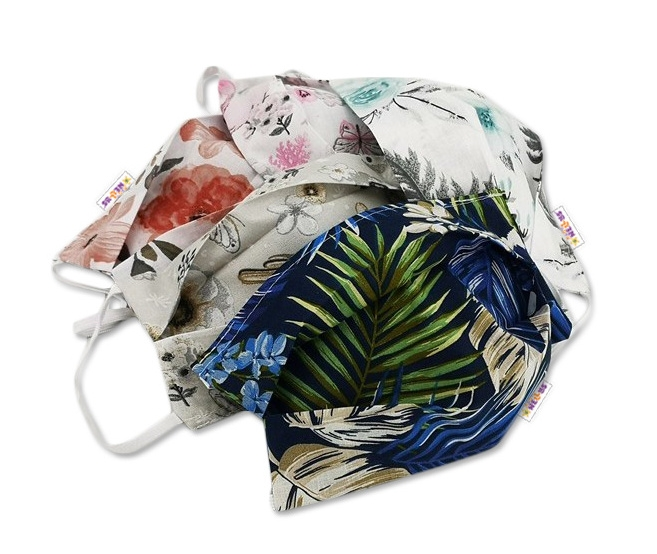 Bavlnená rúška, dvojvrstvová s vreckom na filter na gumku  - pánské motívym farby