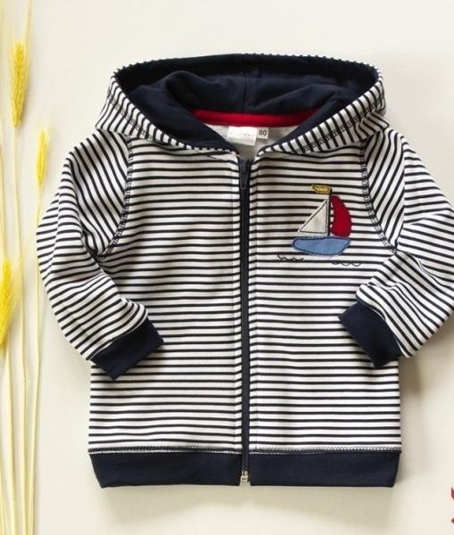 K-Baby Mikinka s kapucňou, plachetnice - tm. modré prúžky, veľ. 92