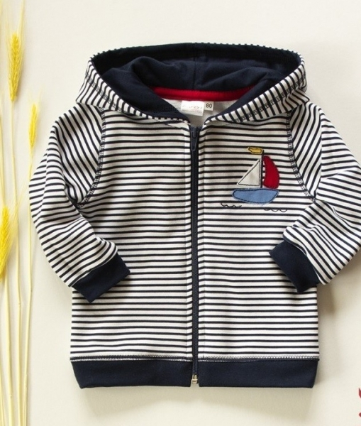 K-Baby Mikinka s kapucňou, plachetnice - tm. modré prúžky, veľ. 98