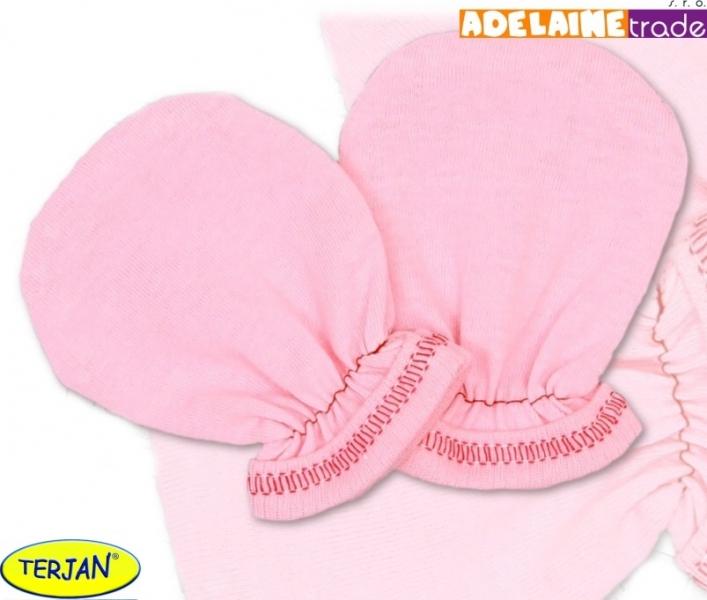 Rukavičky bavlna Terjan - ružové, veľ. 1