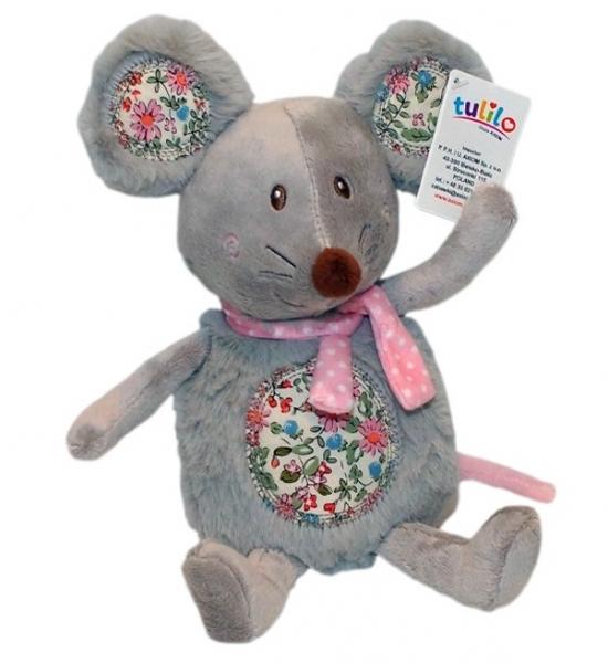 Plyšová myška s růžovým šálom, túlil, 30 cm