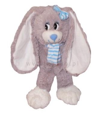 Plyšový zajačik Nina s modrým šálom, túlil, 30 cm
