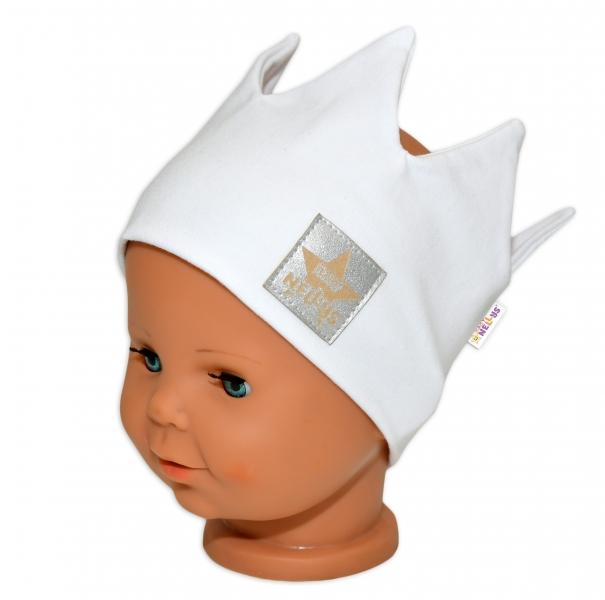 Baby Nellys Hand Made Jarná bavlnená čelenka - dvojvrstvová, Korunka - biela, 1-3 rokov
