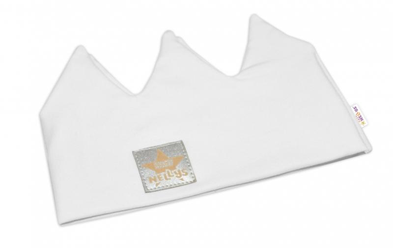 Baby Nellys Hand Made Bavlnená čelenka - dvojvrstvová, Korunka - biela, 44-48cm, 3-7let
