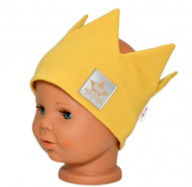 Baby Nellys Hand Made Bavlnená čelenka, dvojvrstvová, Korunka - horčicová, 44-48cm, 3-7let-44/48 čepičky obvod