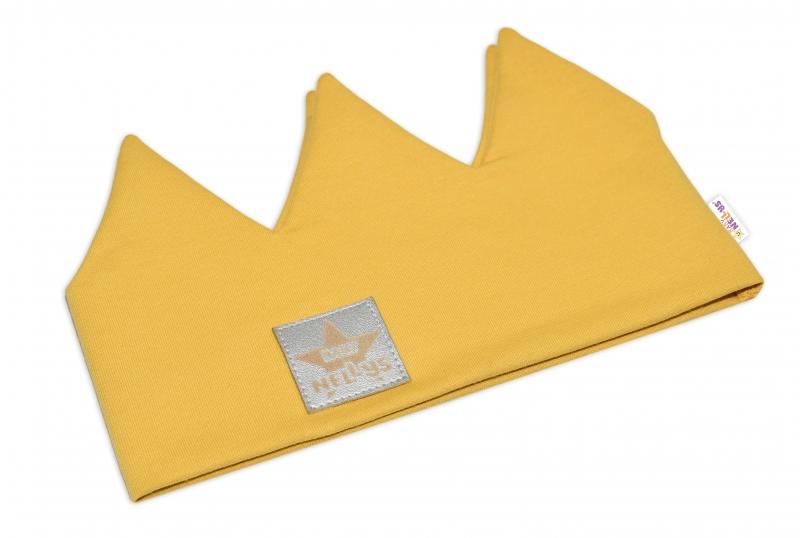 Baby Nellys Hand Made Bavlnená čelenka, dvojvrstvová, Korunka - horčicová, 44-48cm, 3-7let