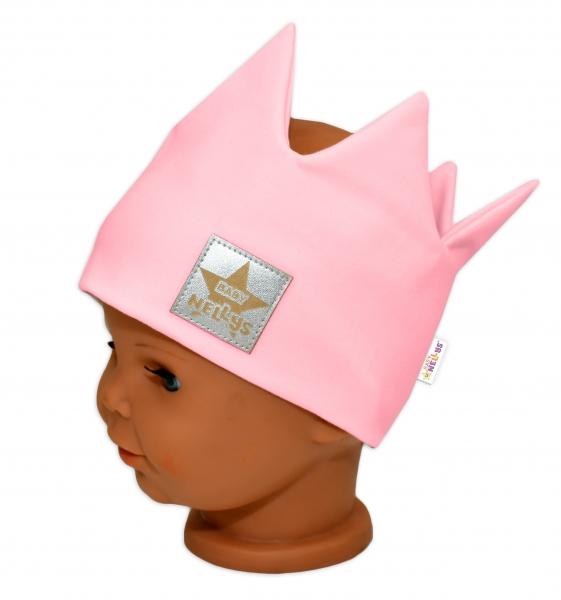 Baby Nellys Hand Made Bavlnená čelenka, dvojvrstvová, Korunka - tm. růžová, 44-48cm,3-7let-44/48 čepičky obvod