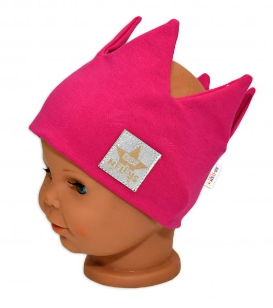 Baby Nellys Hand Made Jarná bavlnená čelenka - dvojvrstvová, Korunka - tm. ružová, 1-3 rokov
