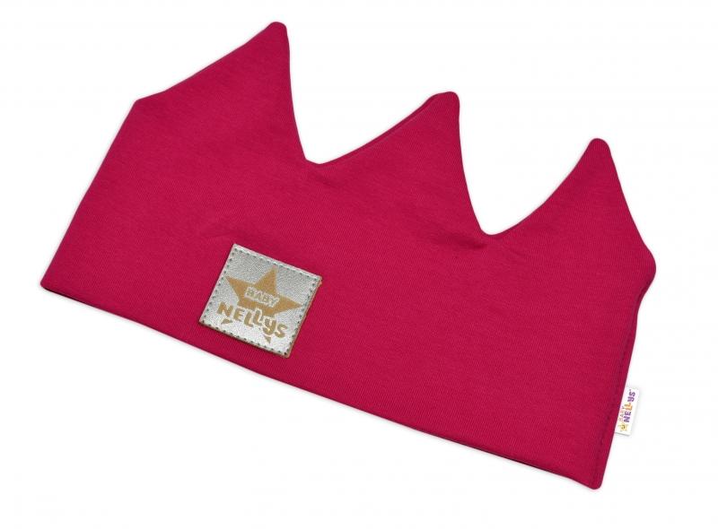 Baby Nellys Hand Made Bavlnená čelenka, dvojvrstvová, Korunka - tm. růžová, 44-48cm,3-7let