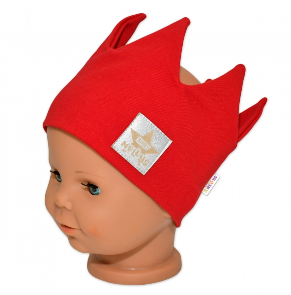 Baby Nellys Hand Made Bavlnená čelenka, dvojvrstvová, Korunka - červená, 44-48cm, 3-7let-44/48 čepičky obvod
