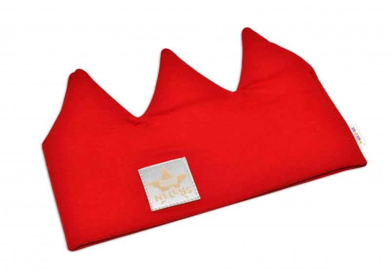 Baby Nellys Hand Made Bavlnená čelenka, dvojvrstvová, Korunka - červená, 3-7let