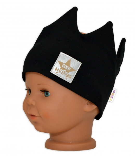 Baby Nellys Hand Made Jarná bavlnená čelenka - dvojvrstvová, Korunka - čierna, 1-3roky