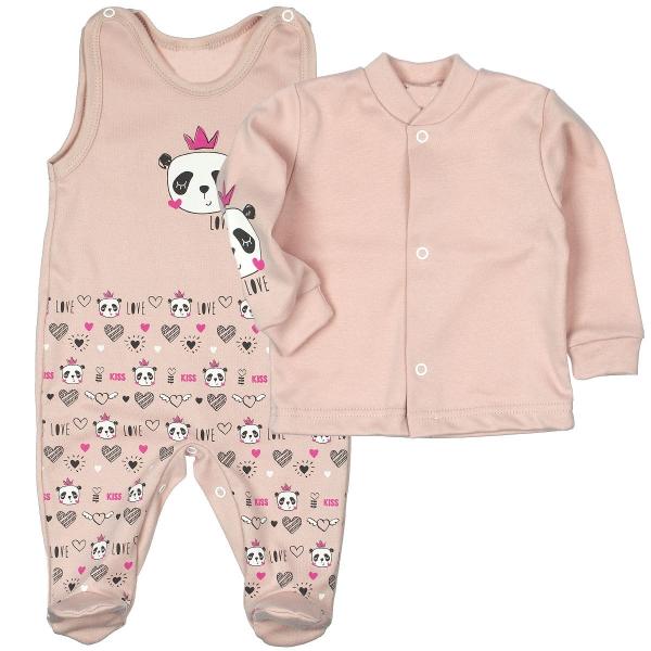 MBaby 2-dielna dojčenská sada PANDA Love - pudrovo rúžová, veľ. 62