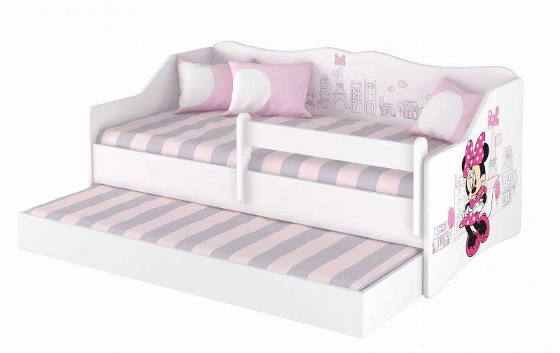 Babyboo Detská posteľ LULU 160 x 80 cm - biela Minnie Paris