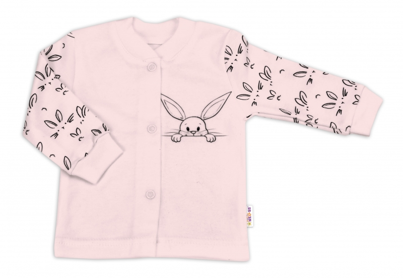 Kojenecká bavlnená košieľka Zajačiky - ružová, veľ 50
