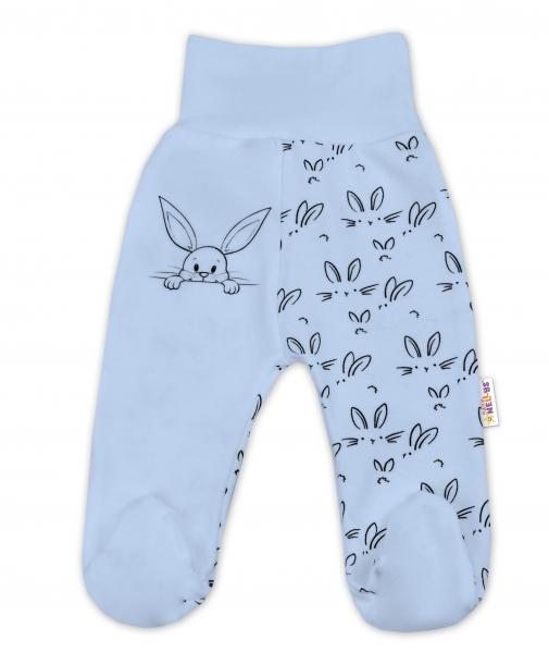 Bavlnené dojčenské polodupačky Baby Nellys ® - Zajačiki - modrá, veľ. 74