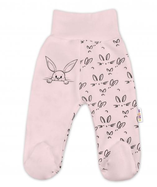 Bavlnené dojčenské polodupačky Baby Nellys ® - Zajačiki - růžová, veľ. 74-74 (6-9m)