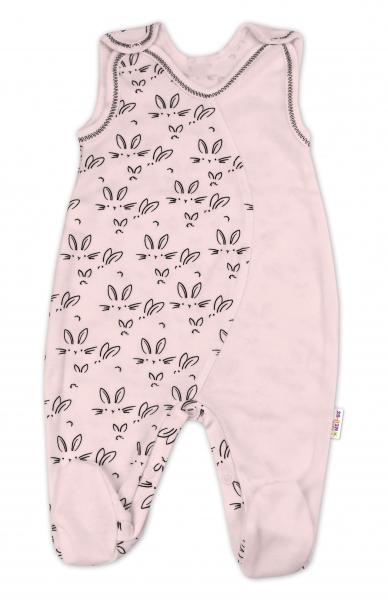 Bavlnené dojčenské dupačky Baby Nellys ® - Zajačiki - růžová, veľ. 68-68 (4-6m)