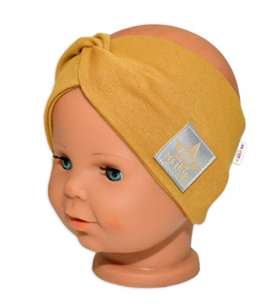 Baby Nellys Hand Made Bavlnená čelenka - dvojvrstvová, horčicová, 1-3 roky