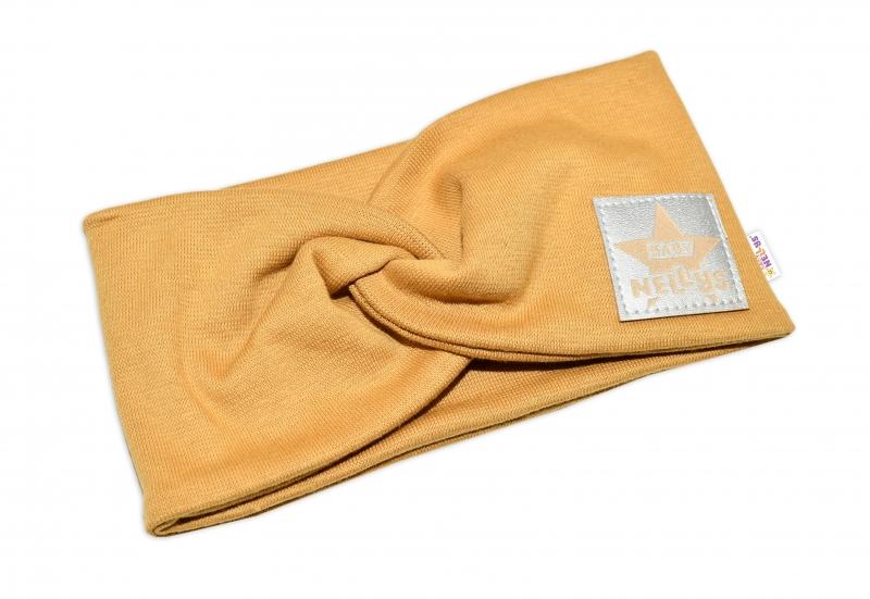 Baby Nellys Hand Made Bavlnená čelenka - dvojvrstvová, horčicová, obvod: 44-48cm, 3-7let