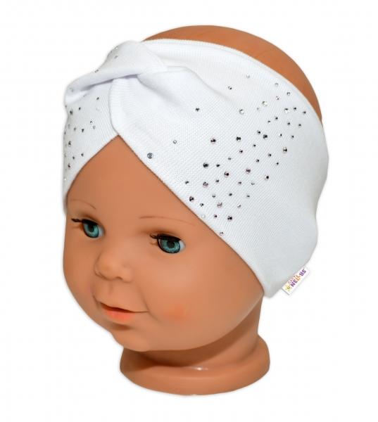Baby Nellys Hand Made Bavlnená čelenka - dvojvrstvová, bílá s kamínky, 44-48cm, 3-7 let