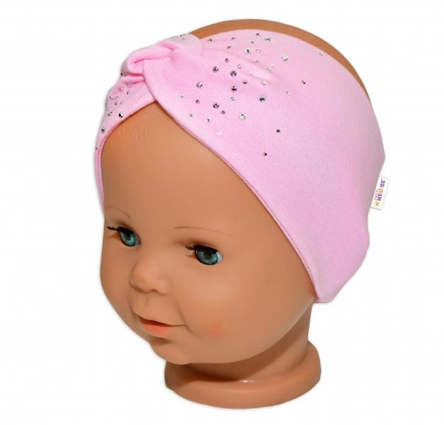 Baby Nellys Hand Made Bavlnená čelenka - dvojvrstvová, sv. růžový s kamínky, 1-3 rok