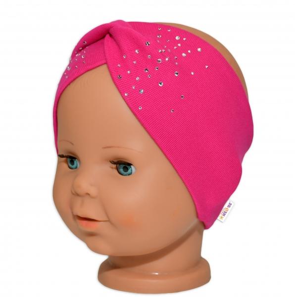 Baby Nellys Hand Made Bavlnená čelenka - dvojvrstvová, tm. růžový s kamínky, 1-3 roky