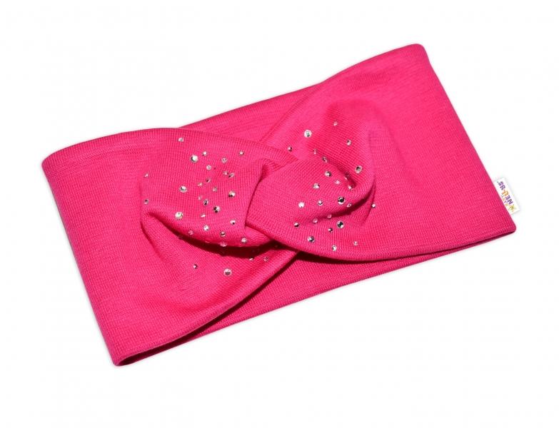 Baby Nellys Hand Made Bavlnená čelenka, dvojvrstvová, tm. růžová s kamínky, 44-48 cm