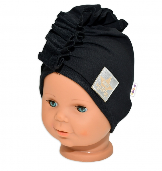 Baby Nellys Jarná /jesenná bavlnená čiapka - turban, čierna, 44-48 cm, 3-7let-44/48 čepičky obvod