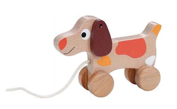 Lenin Edukačná drevená hračka 15 cm ťahacie - Psík