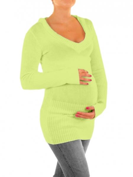 Tehotenský svetrík, tunika s kapucňou - sv. zelená