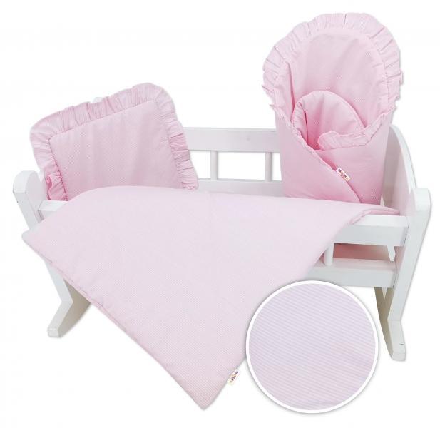Sada pre bábiku Baby Nellys - zavinovačka, perinka a vankúšik Minky - rúžová, prúžky