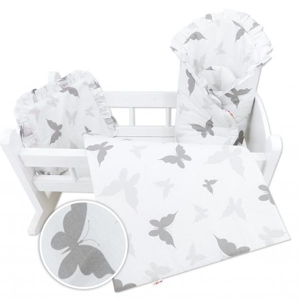 Sada pre bábiku Baby Nellys - zavinovačka, perinka a vankúšik Minky - sivá, motýlek